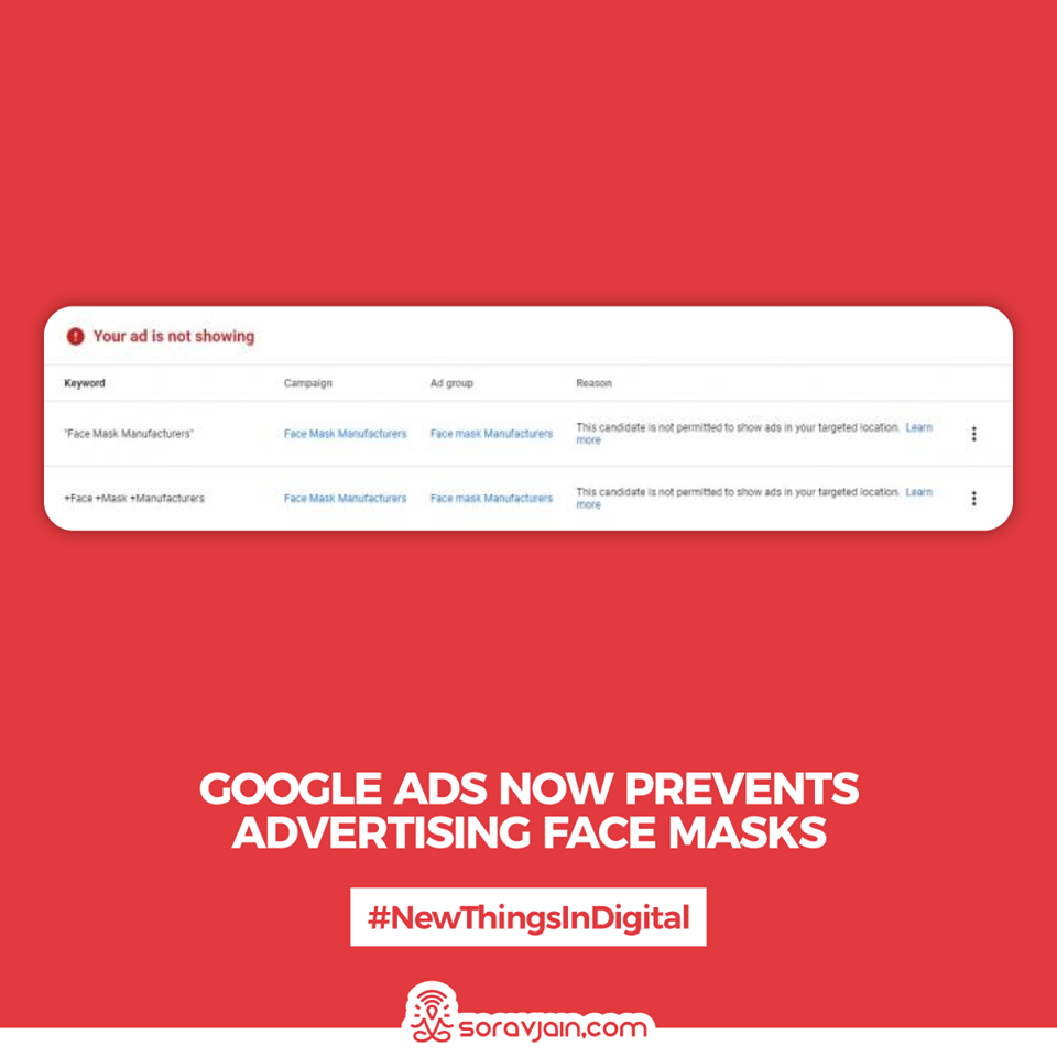 Google Ads Now Prevents Advertising Face Masks