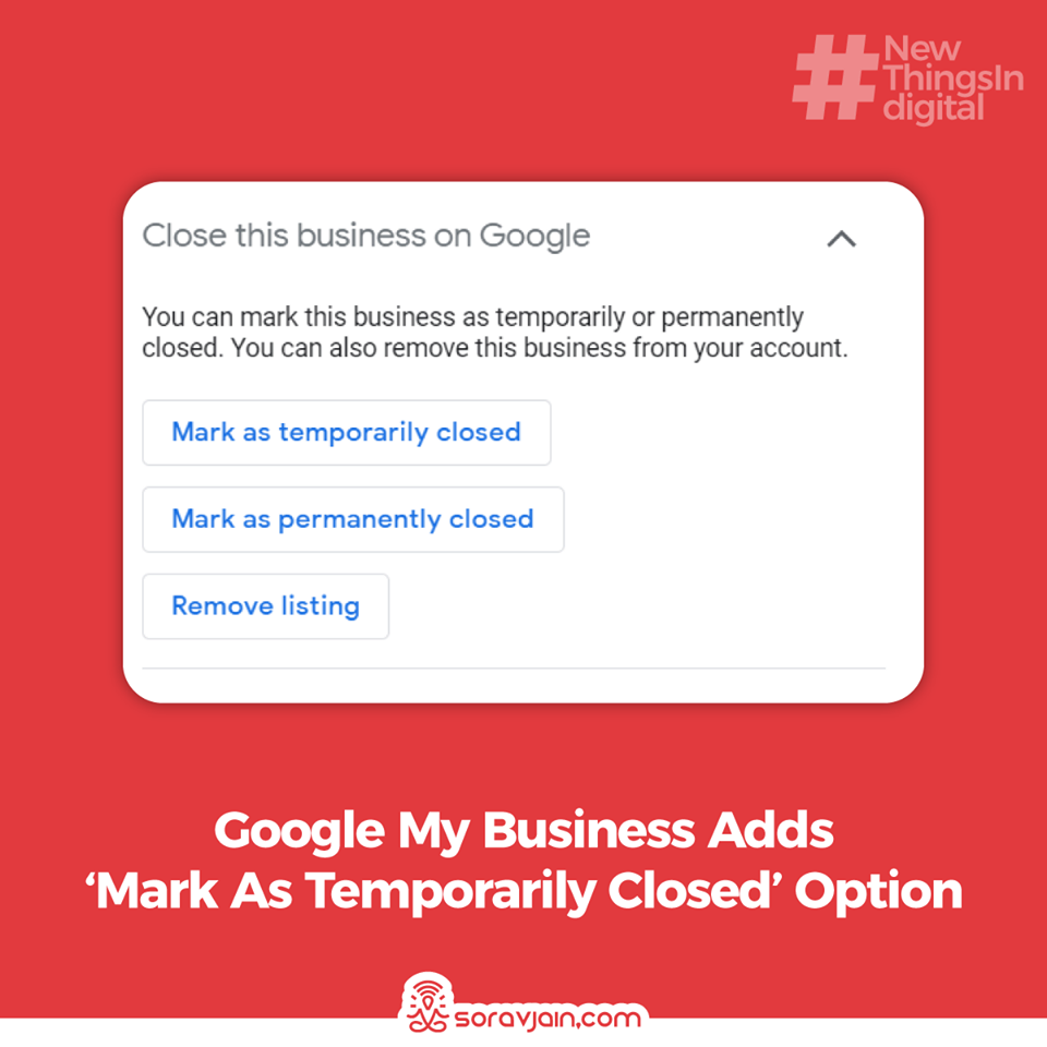 Google My Business Adds Mark As 'Temporarily Closed' Option