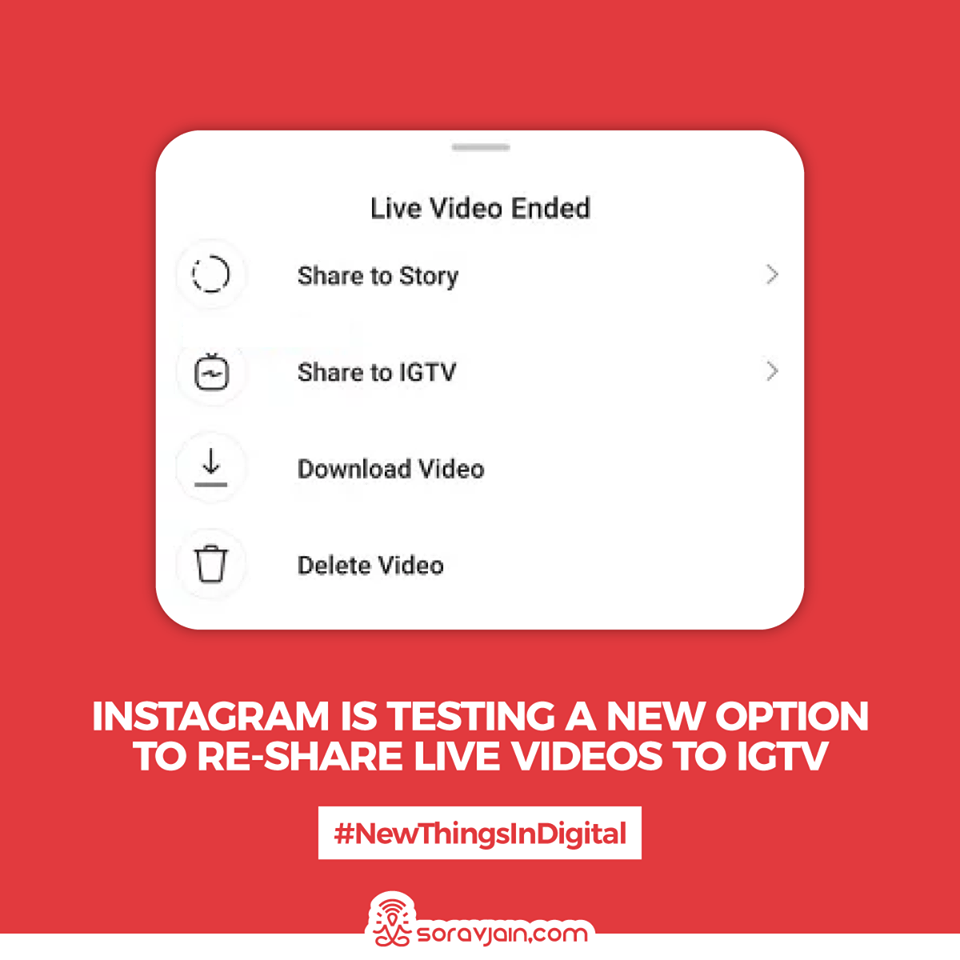 Instagram Is Testing a New Option to Re-Share Live Videos to IGTV