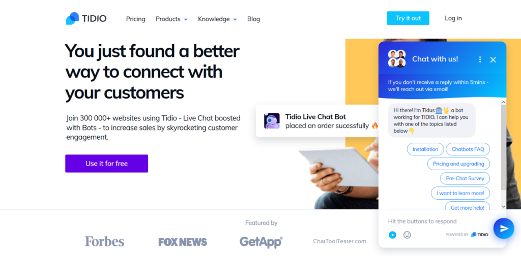 Tidio-Best Live Chat WordPress Plugins for 2020