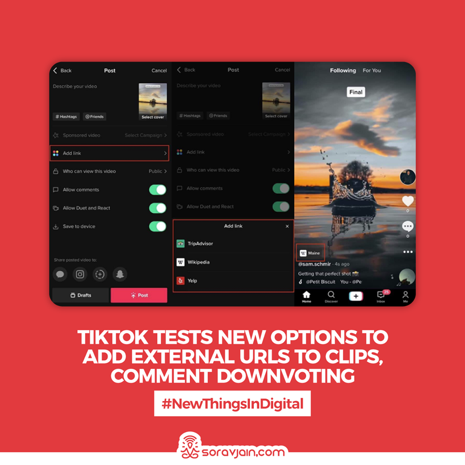 TikTok Tests New Options to Add External URLs to Clips, Comment Downvoting
