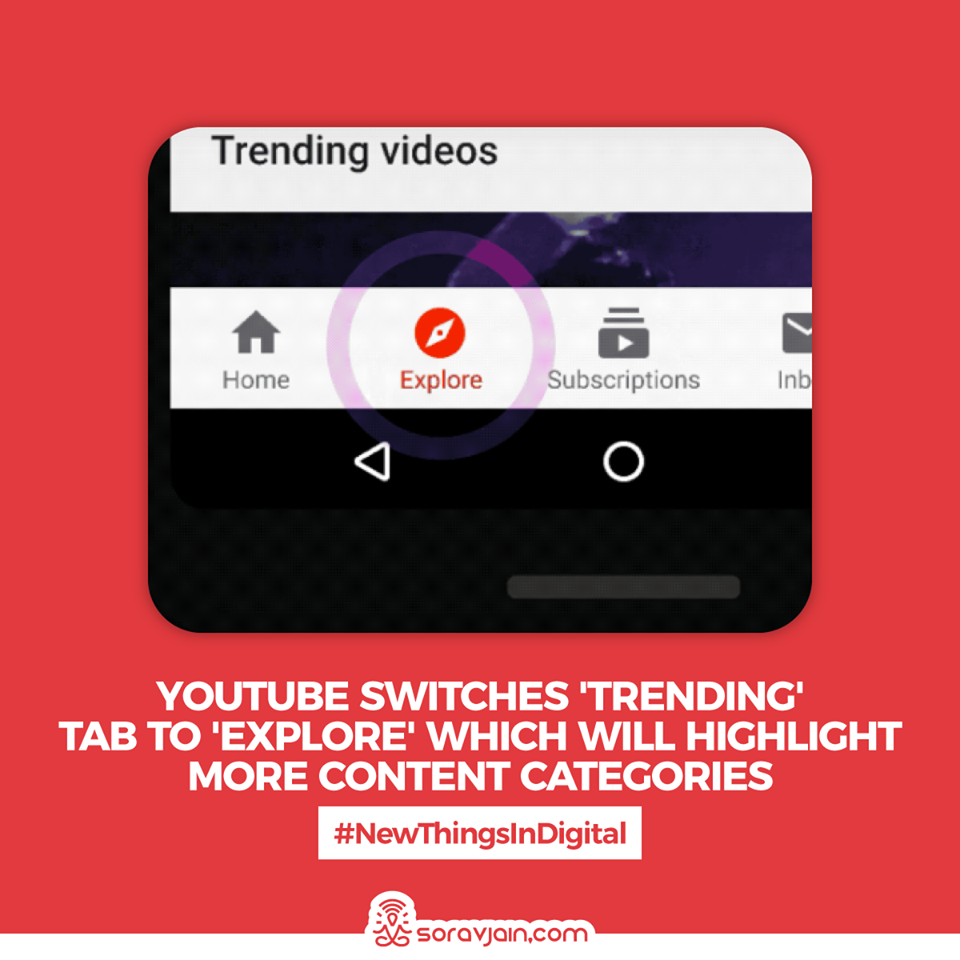 YouTube Switches' Trending' Tab to 'Explore' Which Will Highlight More Content Categories