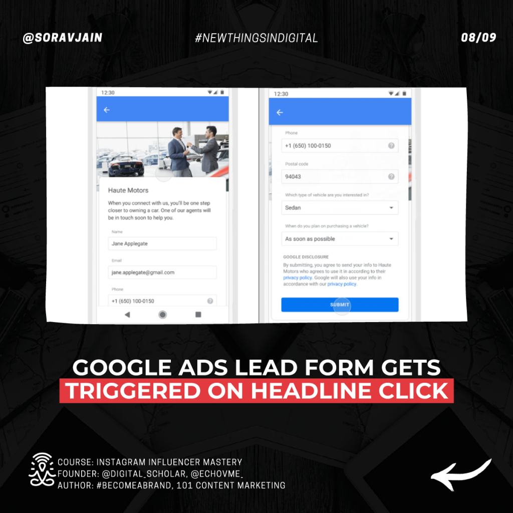 Google Ads lead form now triggers on headline click