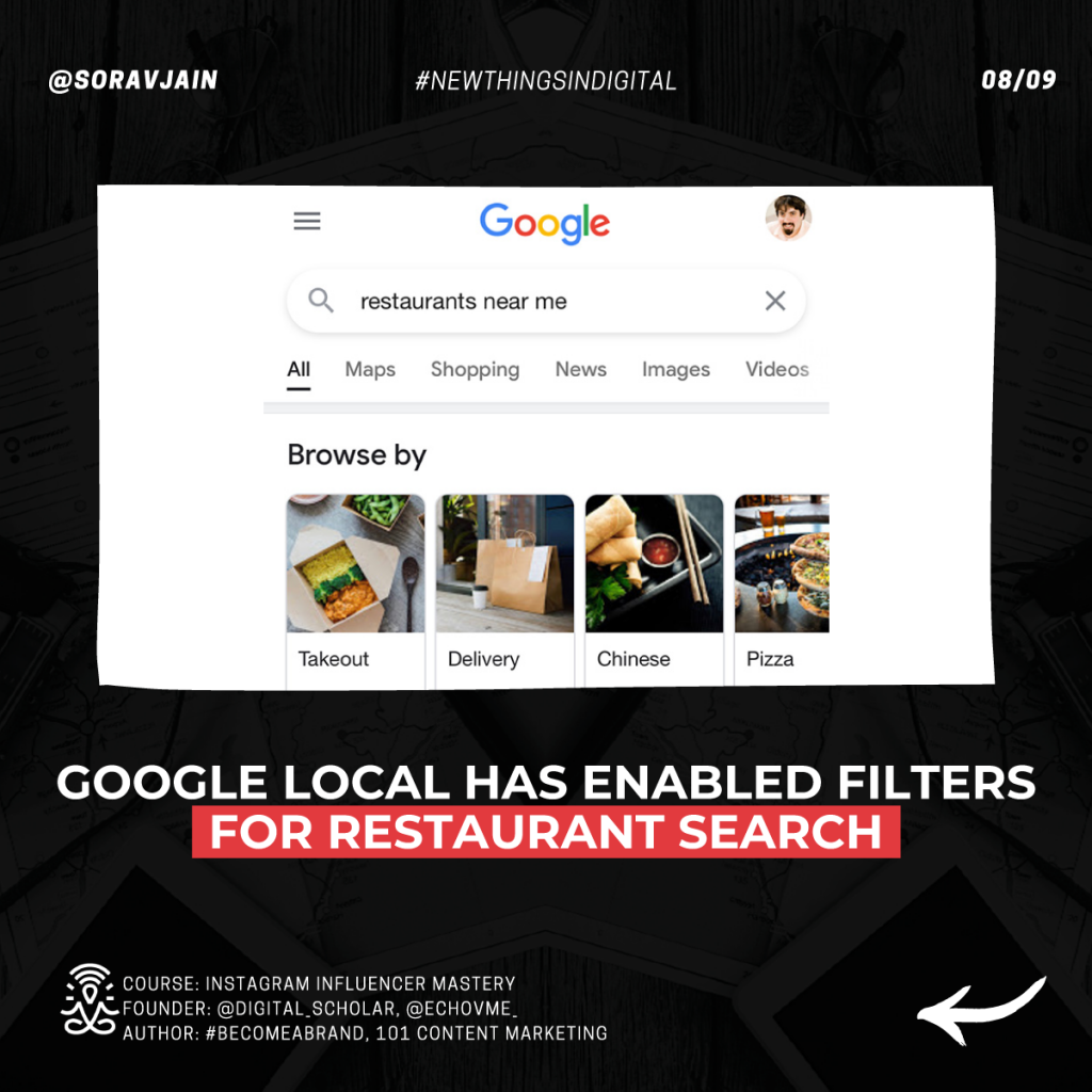 Google Local has enabled filters for restaurant search