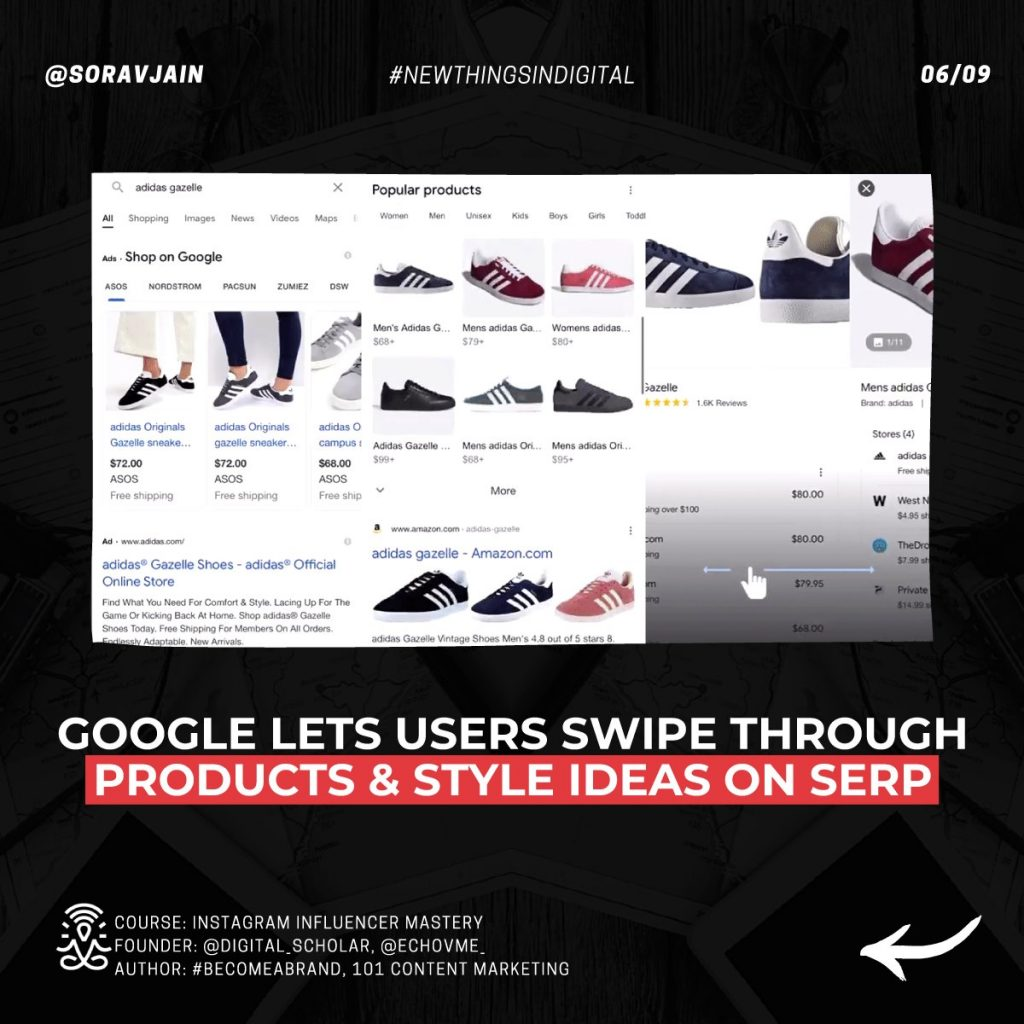 Google lets users swipe through Products and Style Ideas on SERP
