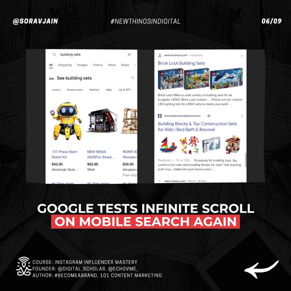 Google tests infinite scroll on mobile Search again