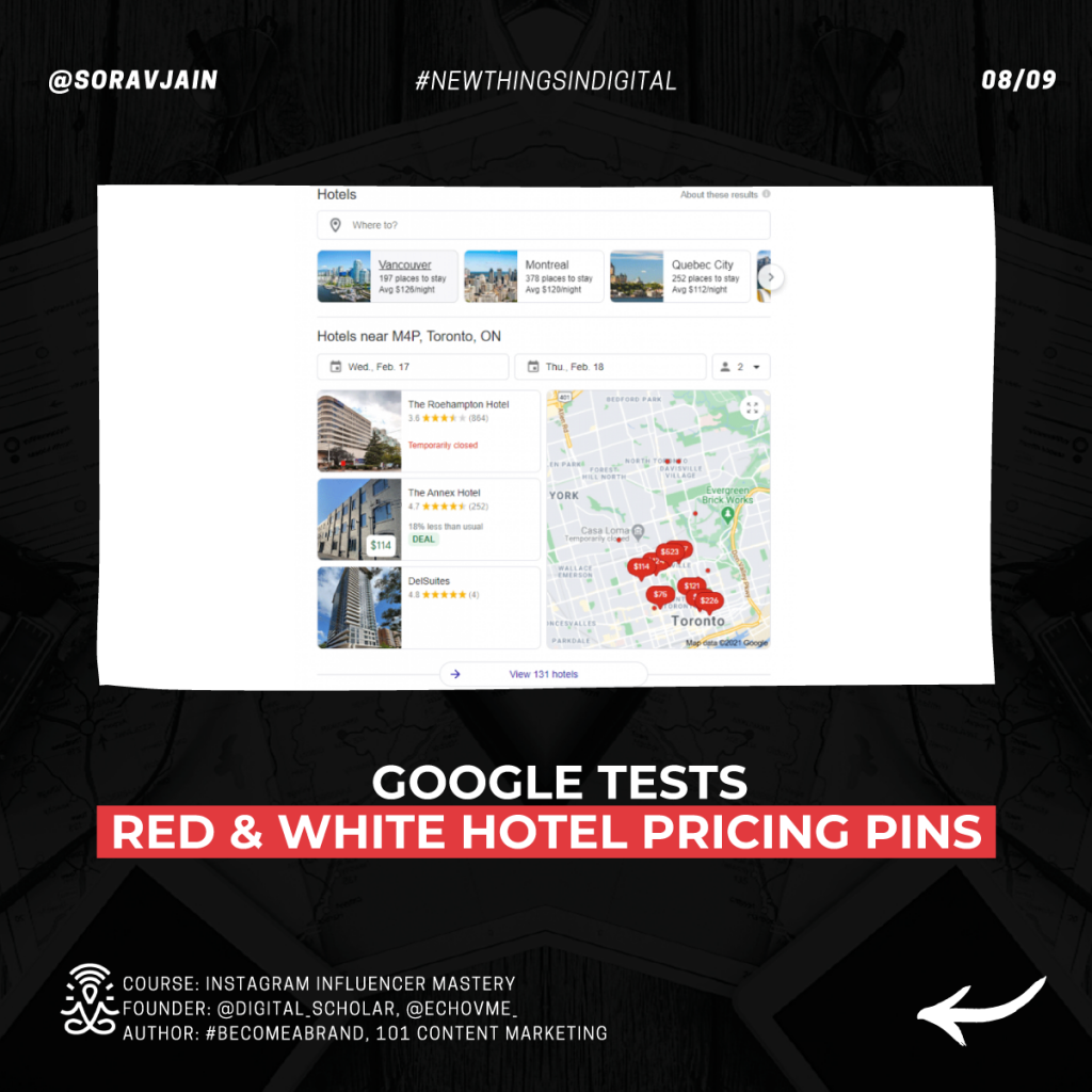 Google tests red & white hotel pricing pins