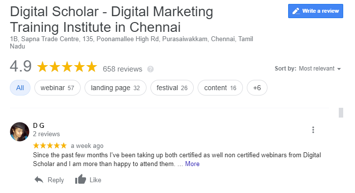 digital marketing course in Chennai reviews