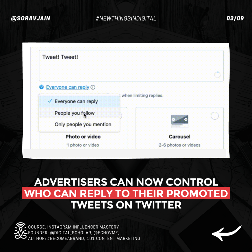 Advertisers can now control who can reply to their promoted Tweets on Twitter
