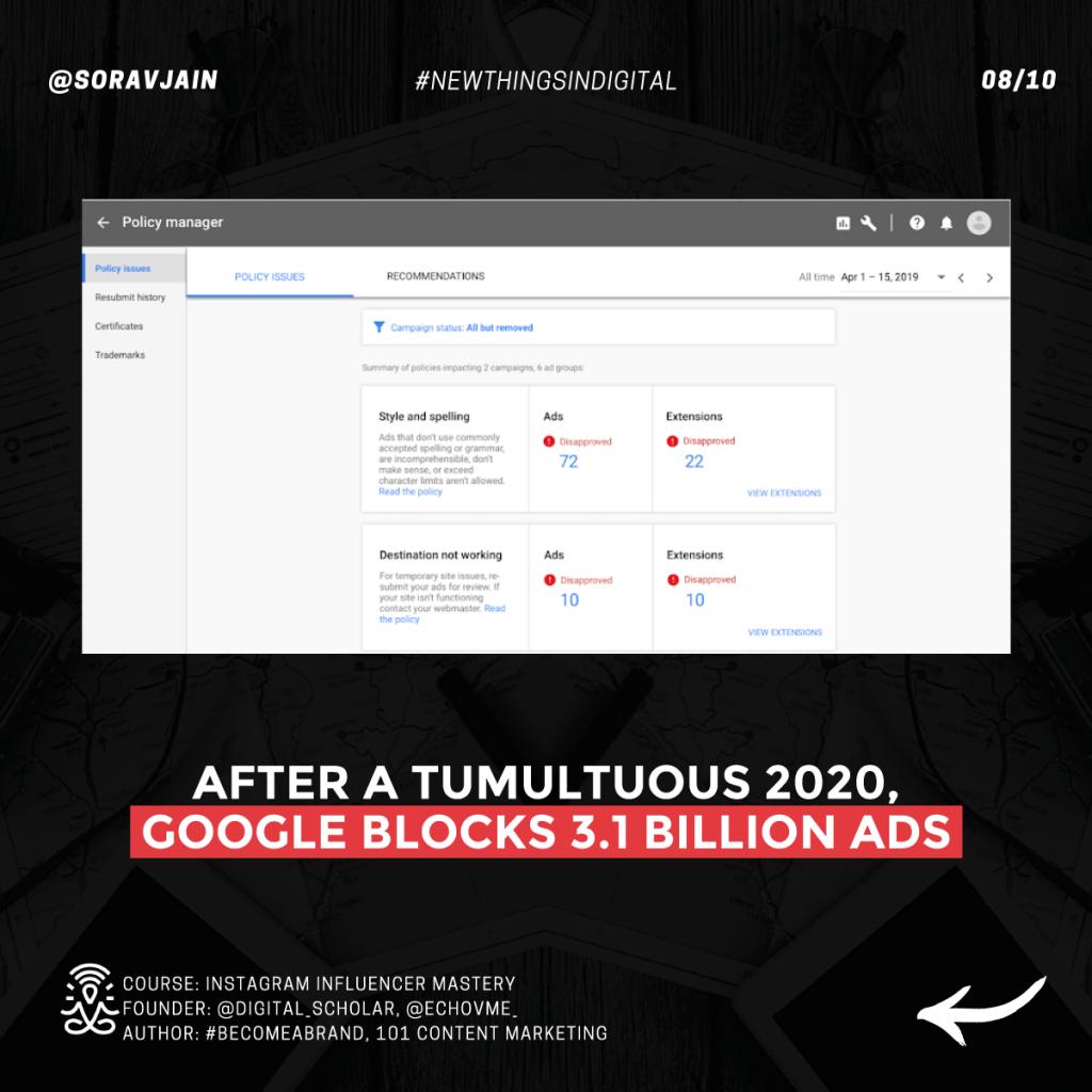 After a tumultuous 2020, Google blocks 3.1 billion ads