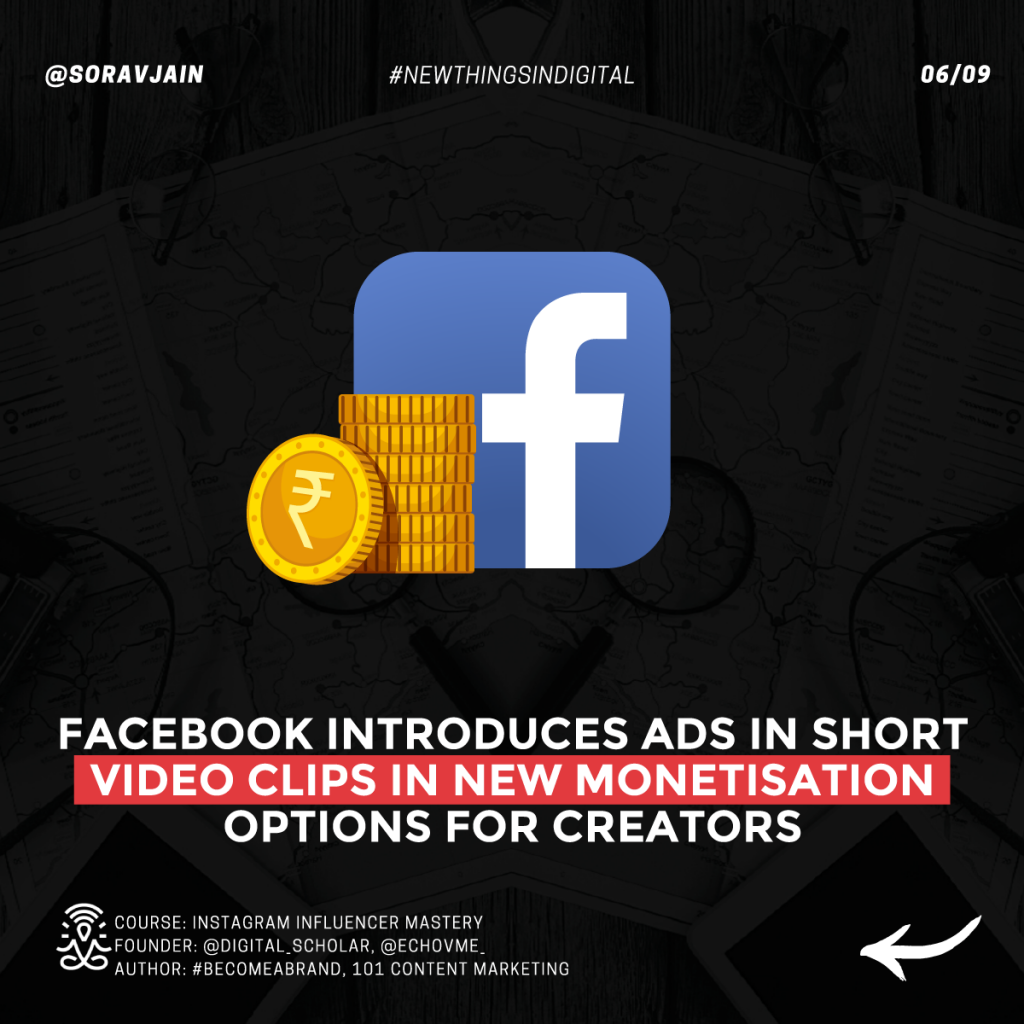 Facebook introduces ads in short video clips in new monetization options for creators
