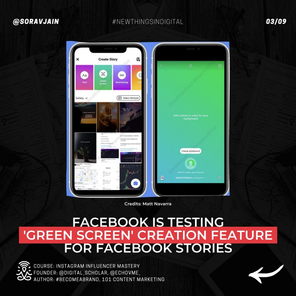 Facebook is testing the 'Green Screen' creation feature for Facebook Stories