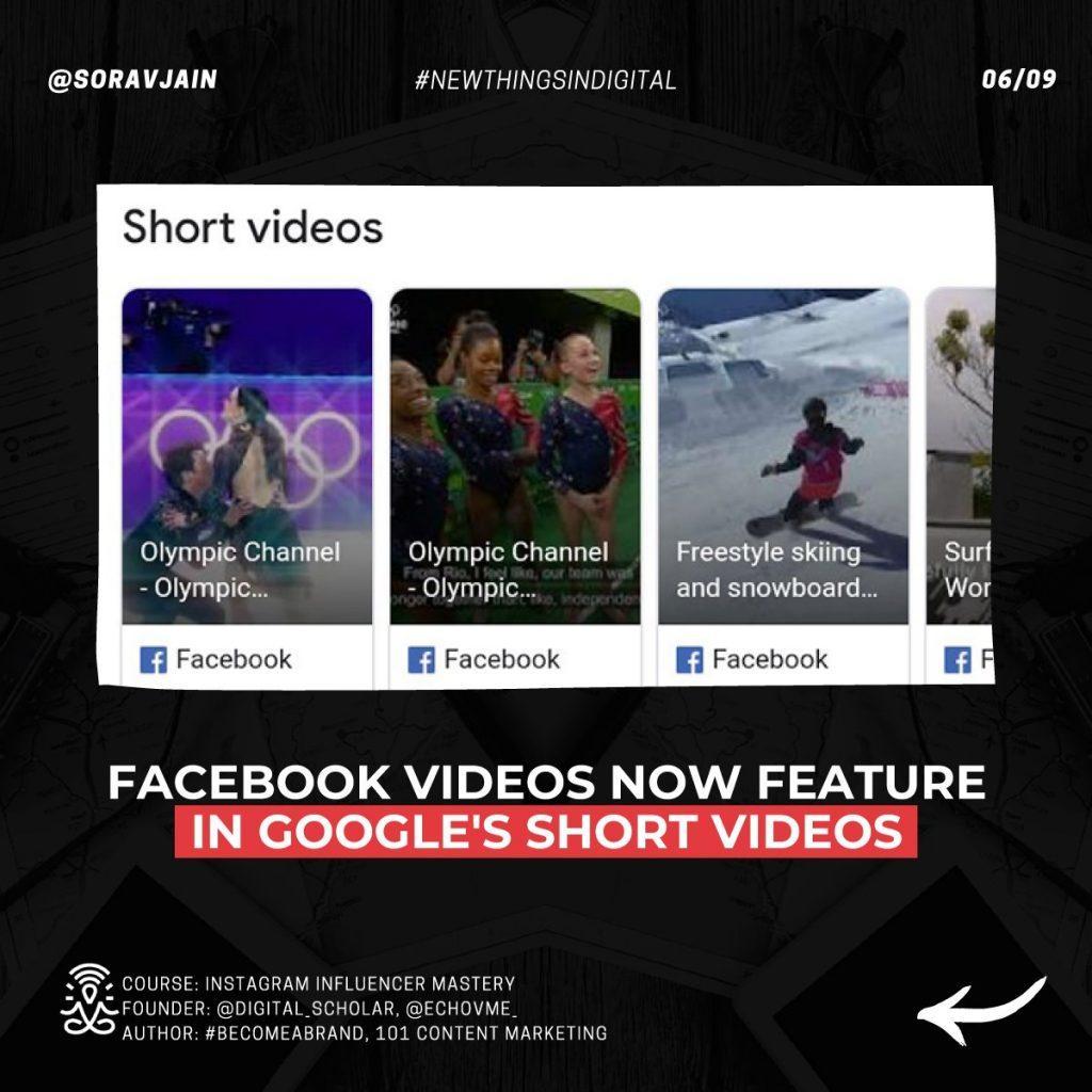 Facebook videos now feature in Google's Short Videos