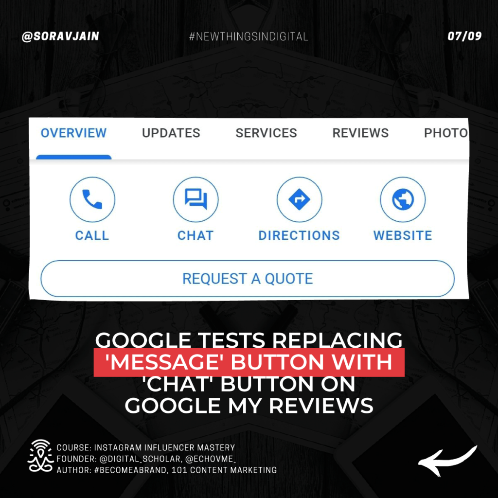 Google tests replacing 'Message' button with 'Chat' button on Google My Reviews