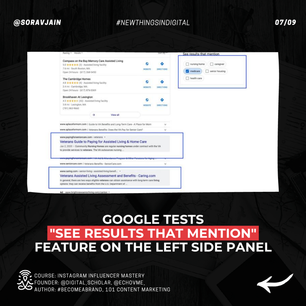 Google tests the See results that mention feature on the left side panel