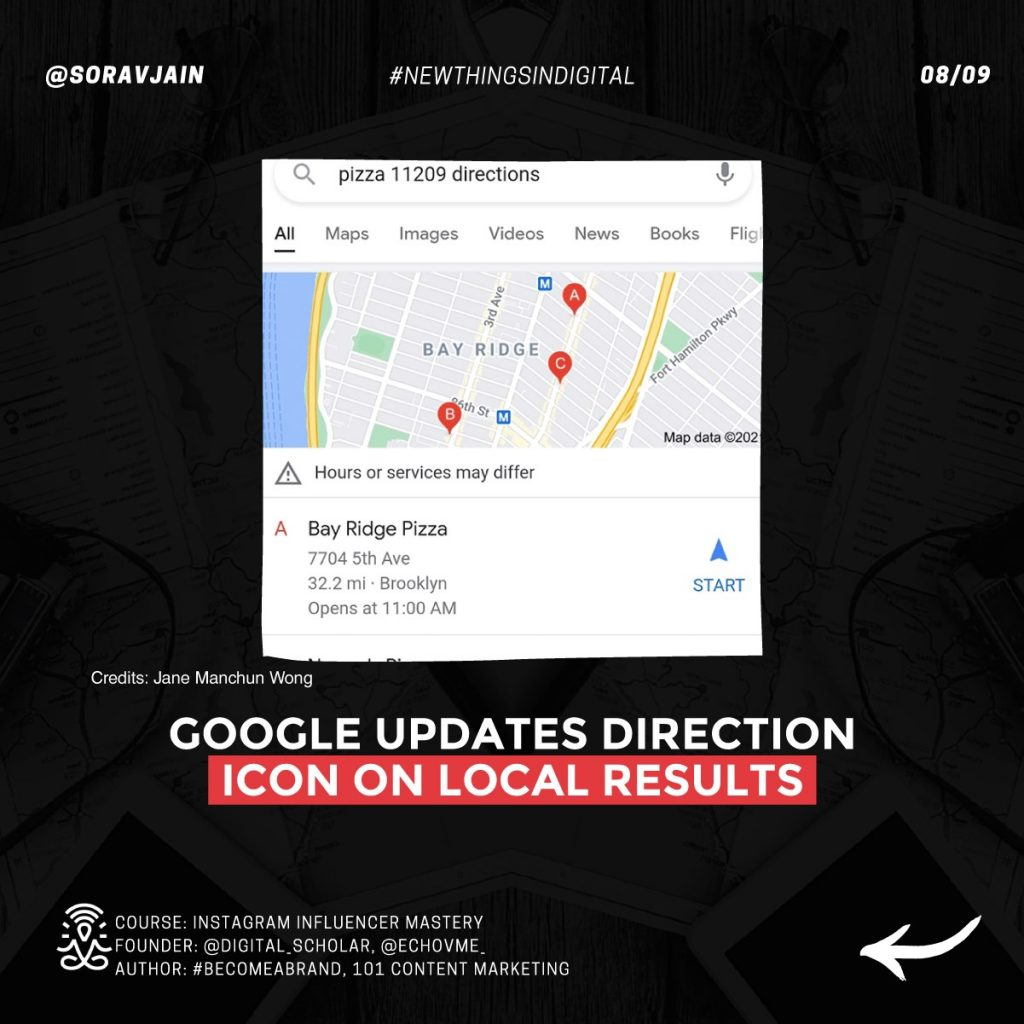 Google updates direction icon on Local Results