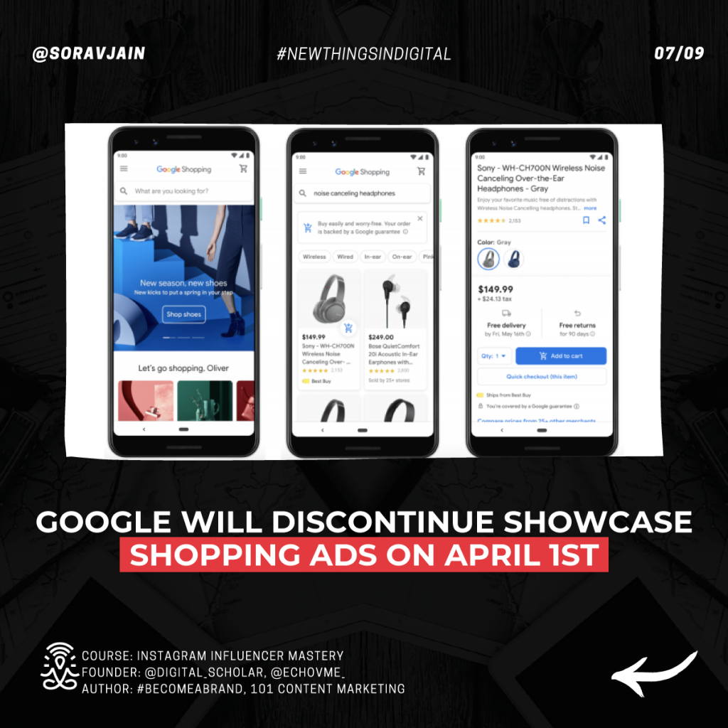 Google will discontinue Showcase Shopping Ads on April 1st
