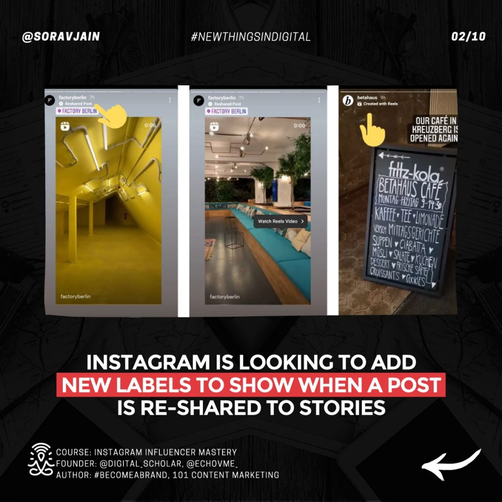 Instagram looking to add new labels to show when a post is re-shared to Stories