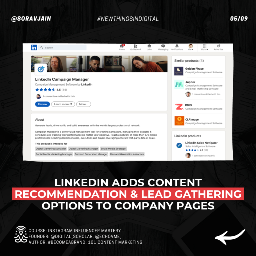 LinkedIn adds Content Recommendation & Lead gathering options to Company Pages