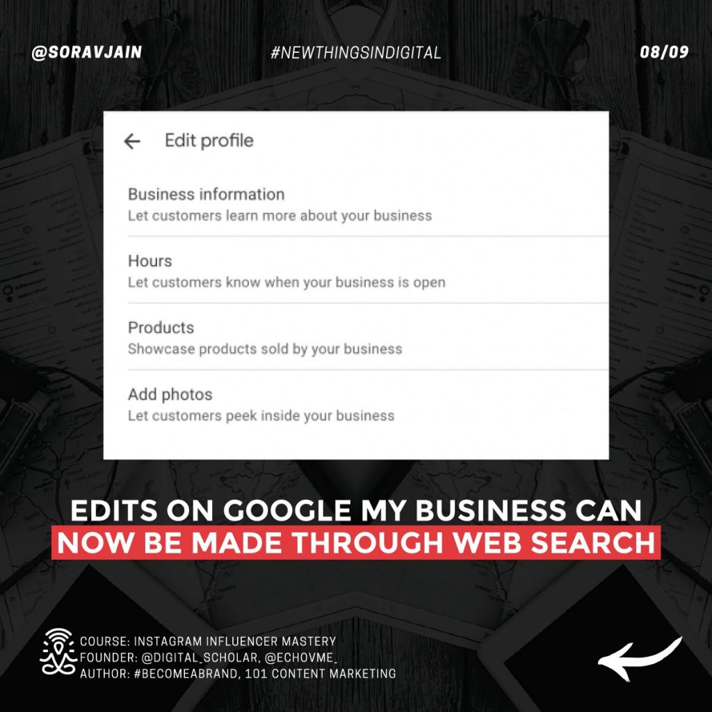 Edits on Google My Business can now be made through Web Search