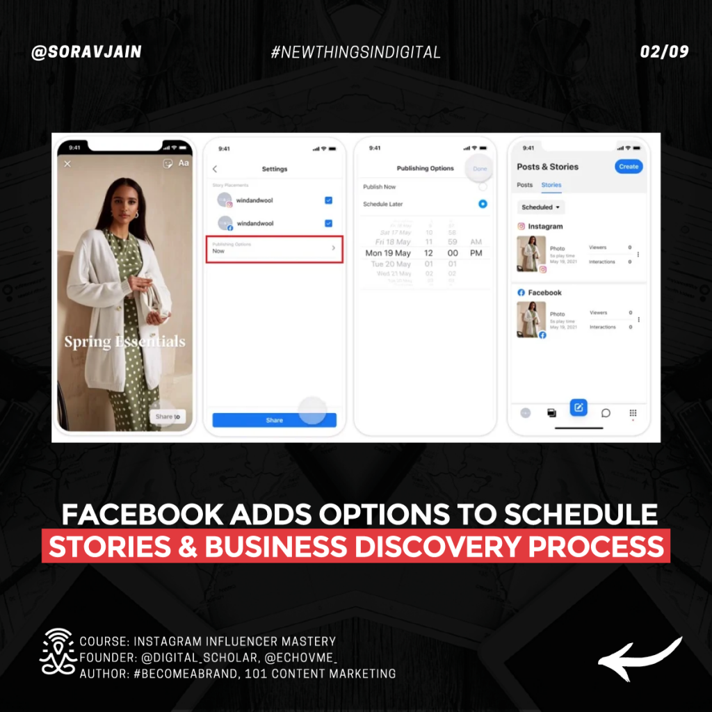Facebook adds options to schedule Stories and the business discovery process