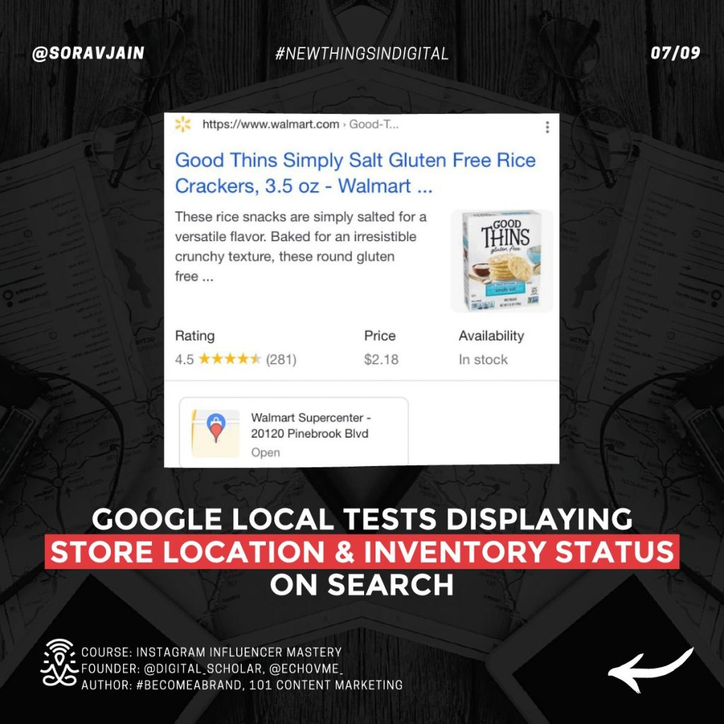 Google Local tests displaying store location & inventory status on Search