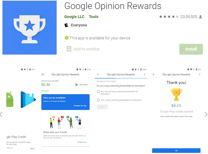 Google Opinion Rewards - Money Earning Apps In India