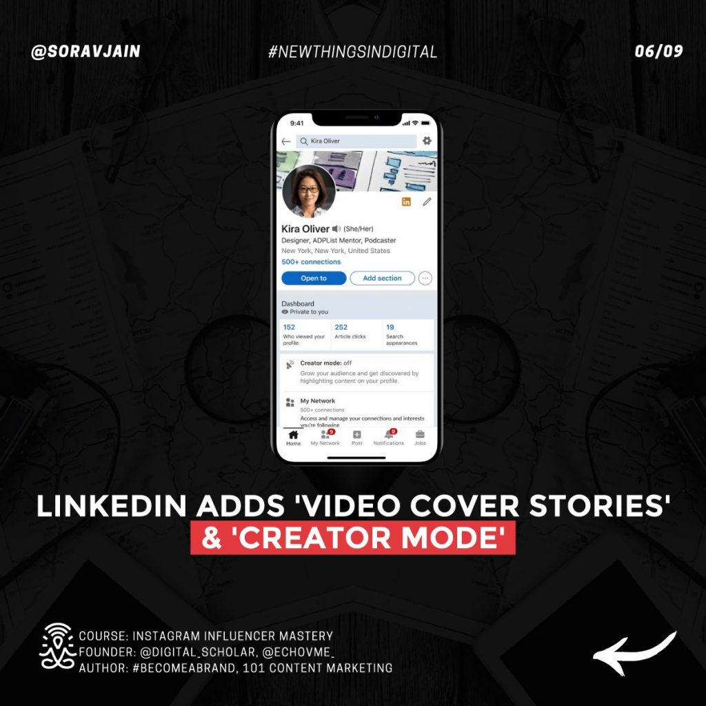 LinkedIn adds 'Video Cover Stories' and 'Creator Mode'