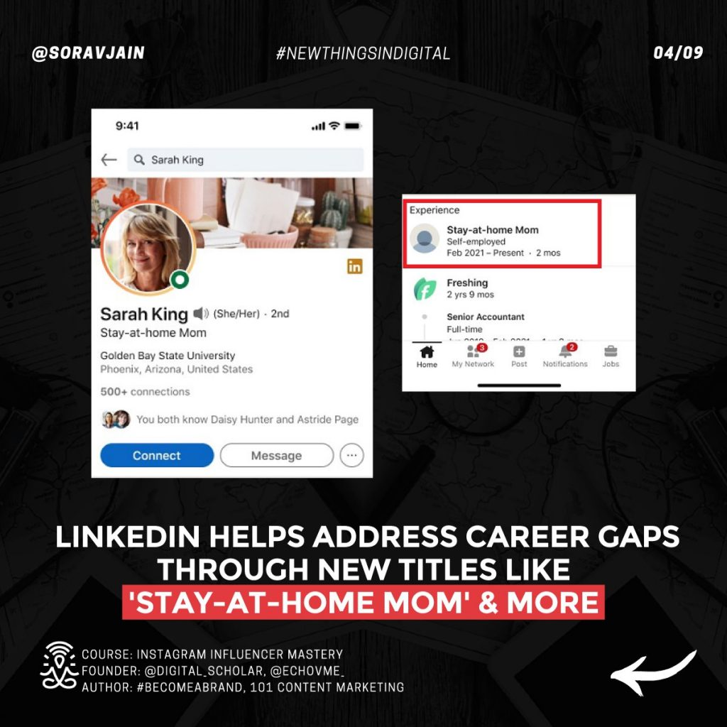 LinkedIn helps address career gaps through new titles like 'Stay-at-home Mom' and more