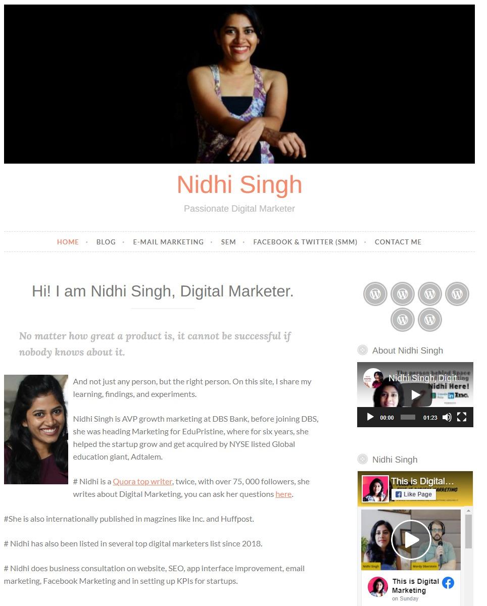 Nidhi-Singh - Digital Marketing Blogger from India