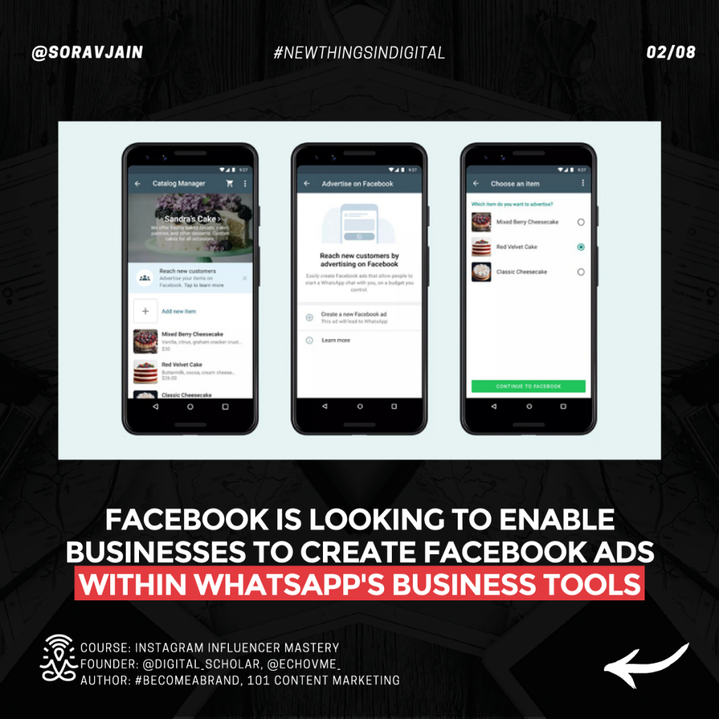 Facebook is looking to enable businesses to create Facebook Ads within WhatsApp's Business