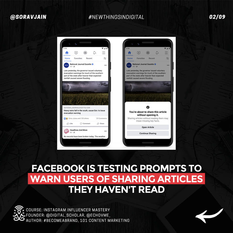 Facebook is testing prompts to warn users of sharing articles they haven't read