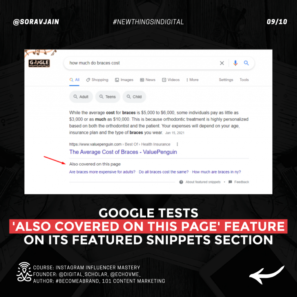 Google tests 'Also covered on this page' feature on its featured snippets section