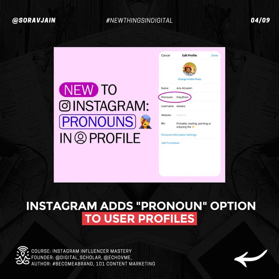 Instagram adds Pronoun option to user profiles
