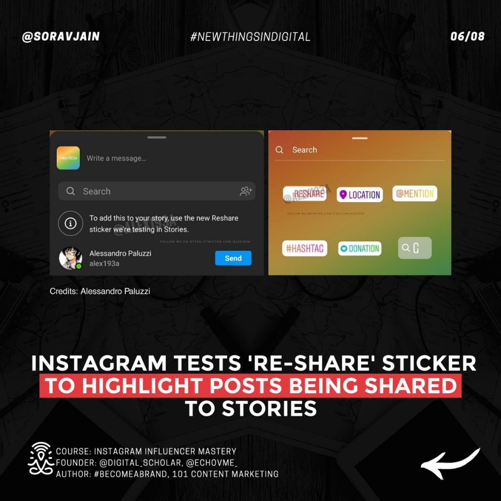 Instagram tests 'Re-share' sticker to highlight posts being shared to Stories