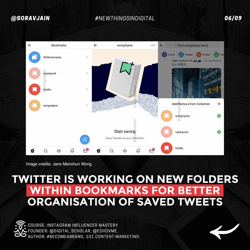 Twitter is working on new folders within Bookmarks for better organisation of saved Tweets