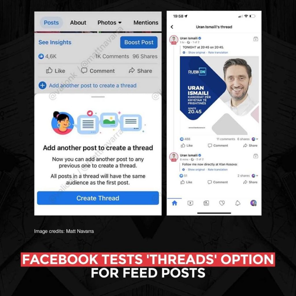 Facebook Facebook tests 'Thread' option for feed poststests 'Thread' option for feed posts