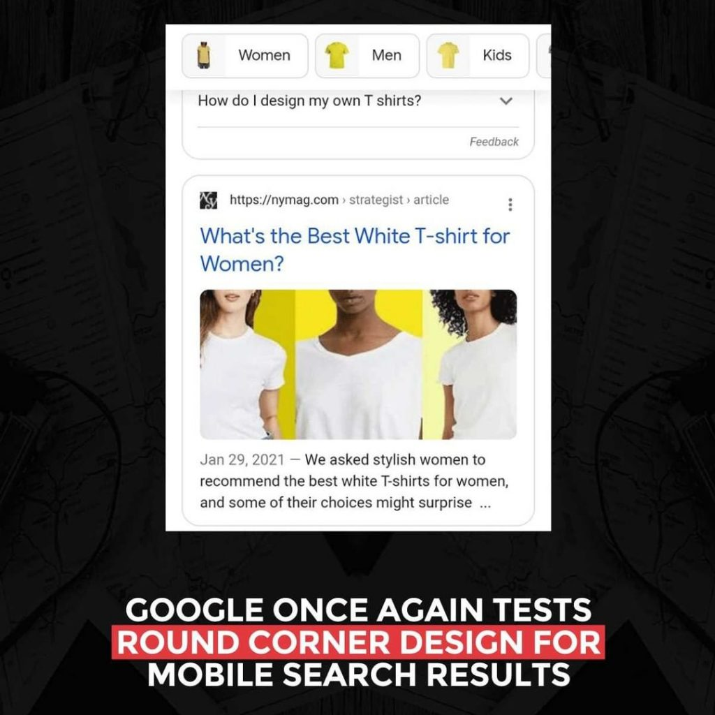 Google once again tests round corner design for Mobile Search results