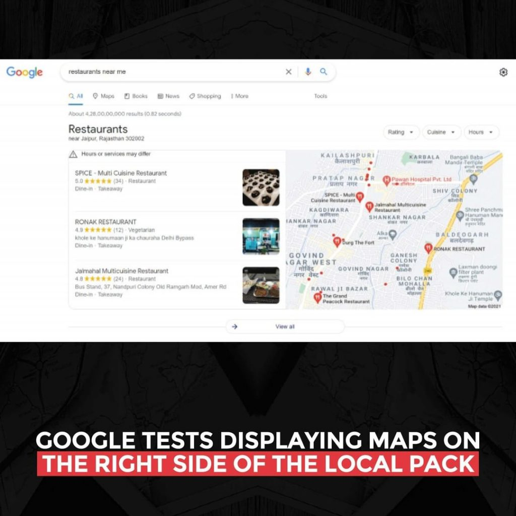 Google tests displaying Maps on the right side of the local pack