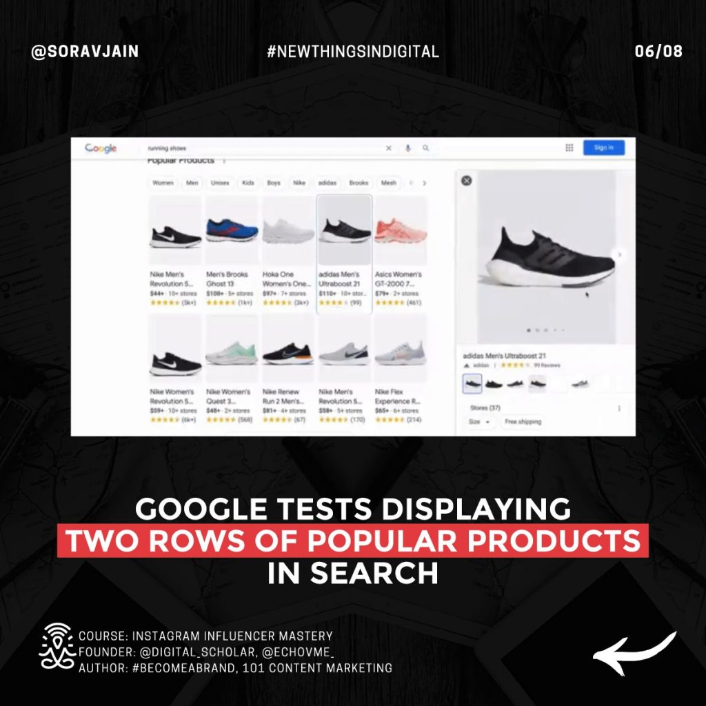 Google tests displaying two rows of popular products in Search