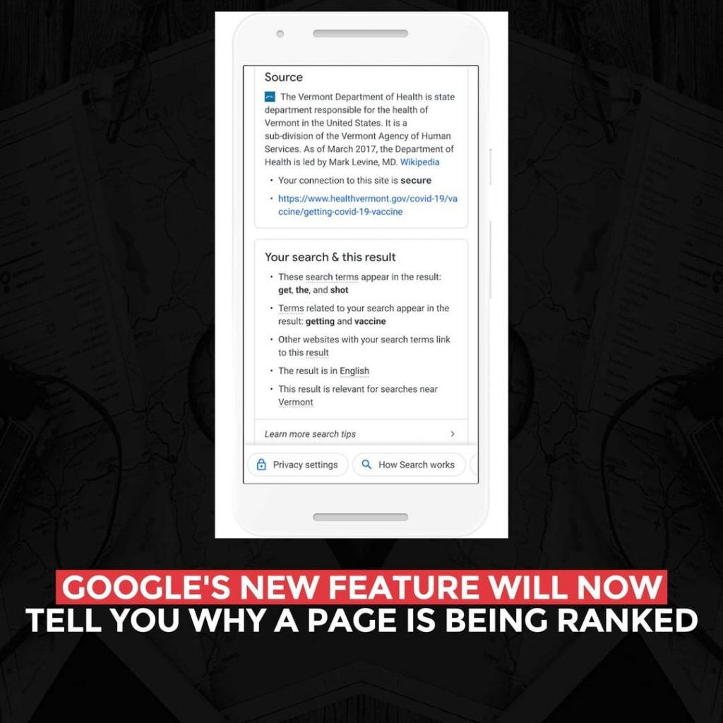 Google's new feature will now tell you why a page is being ranked