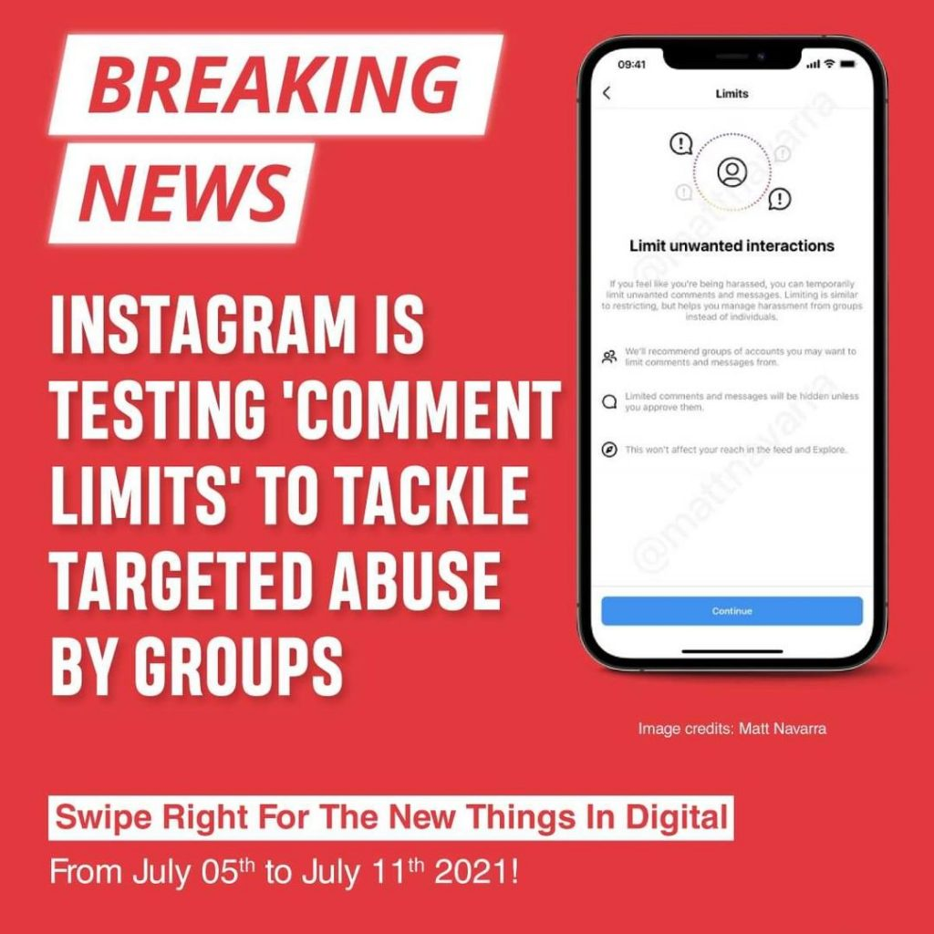 Instagram is testing 'Comment Limits' to tackle targeted abuse by groups