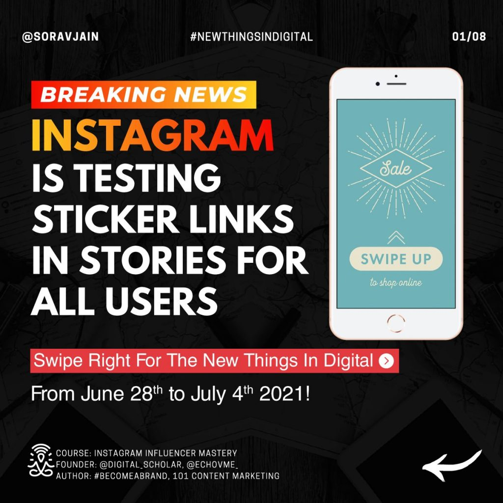Instagram is testing Link Stickers in Stories for all users