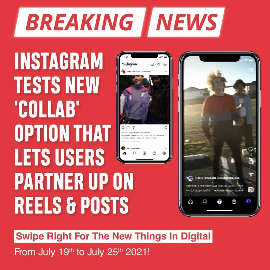 Instagram tests new 'Collab' option that lets users partner up on Reels and Posts