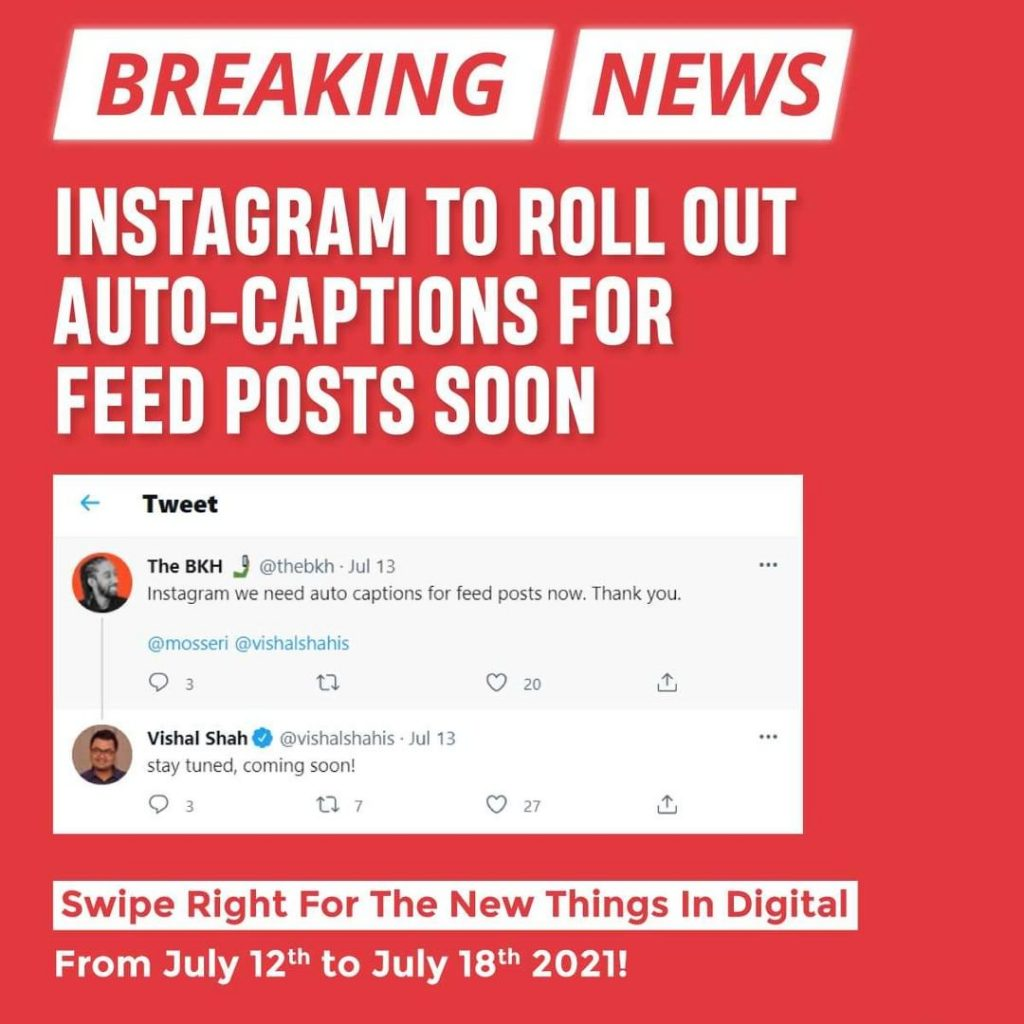Instagram to roll out auto-captions for feed posts soon