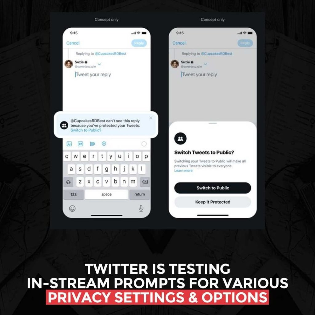 Twitter is testing in-stream prompts for various Privacy settings and options