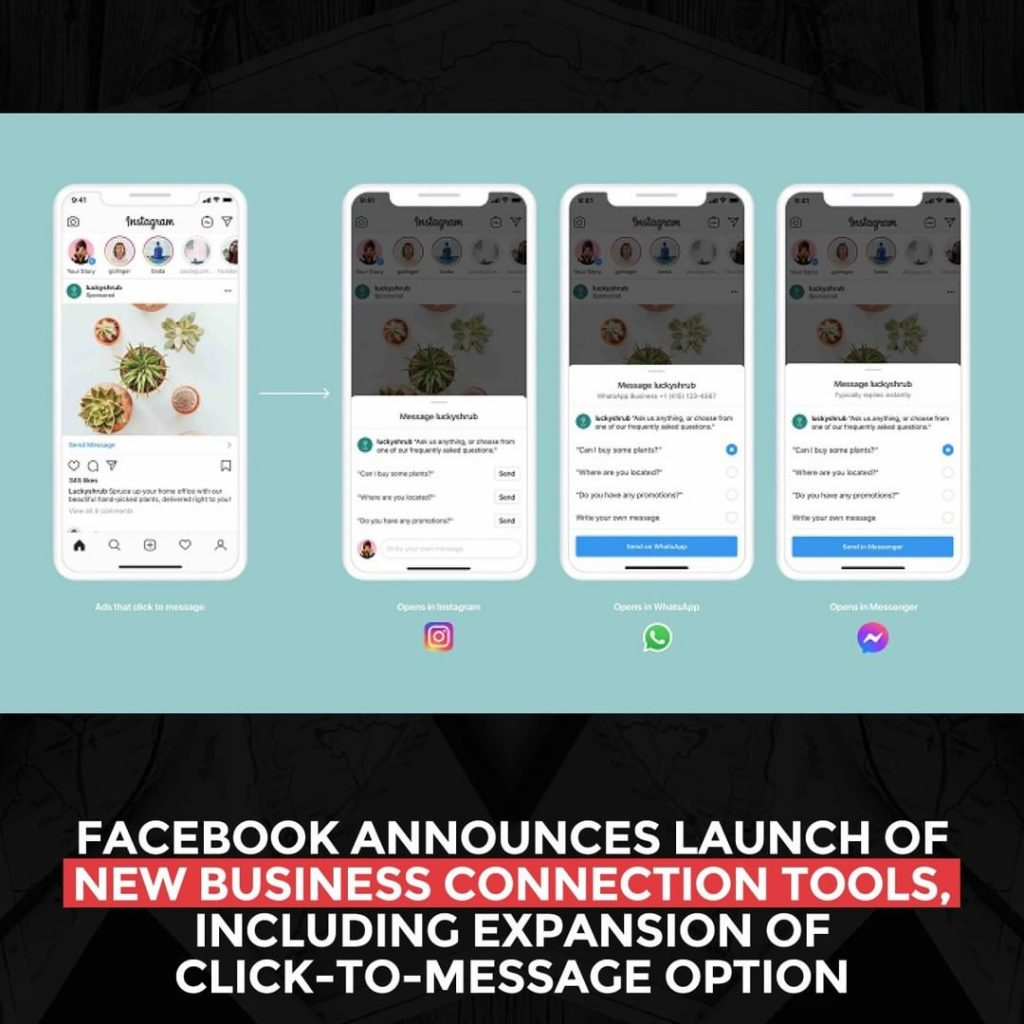 Facebook announces the launch of new business connection tools, including expansion of the click-to-message option
