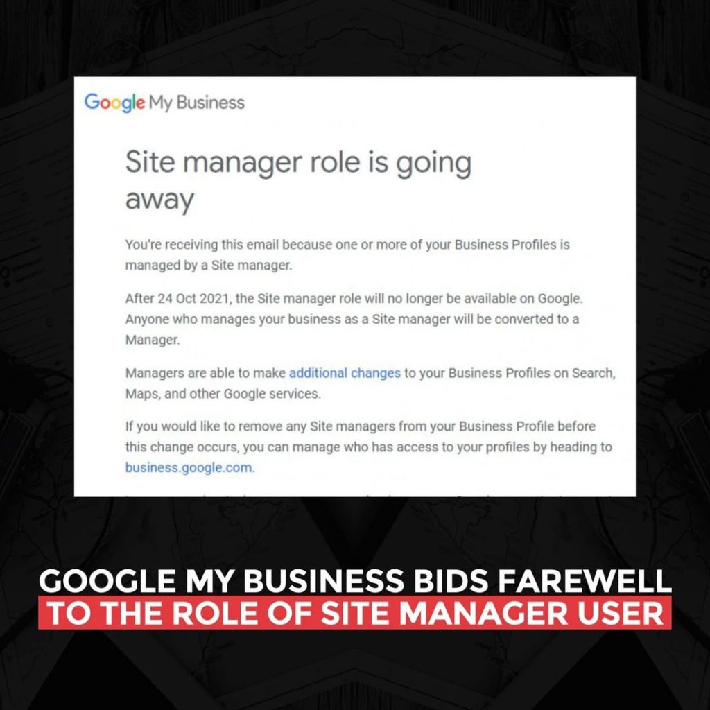 Google My Business bids farewell to the role of Site Manager User