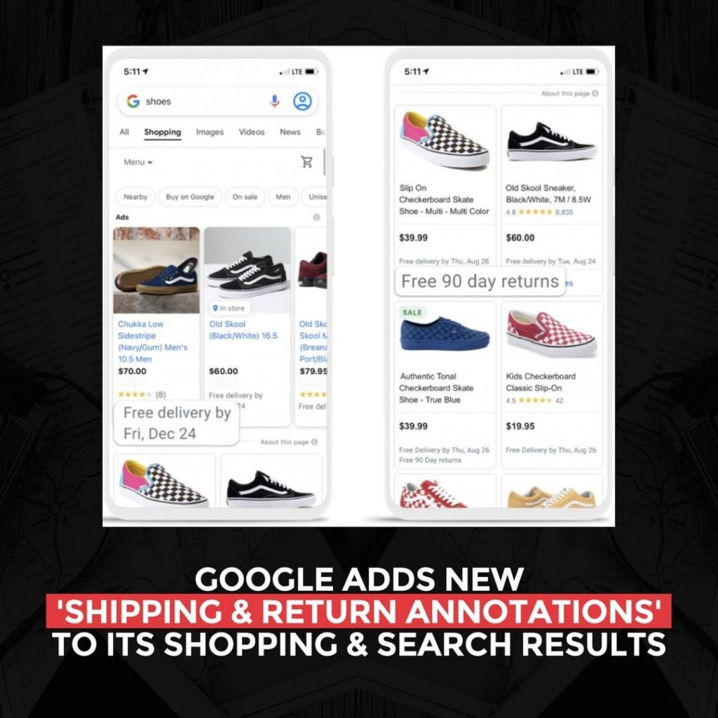 Google adds new 'Shipping and Return Annotations' to its Shopping & Search Results