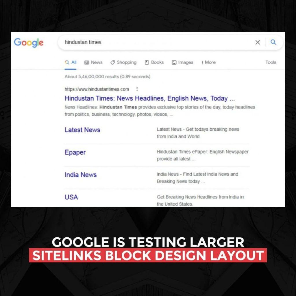 Google is testing larger site links block design layout